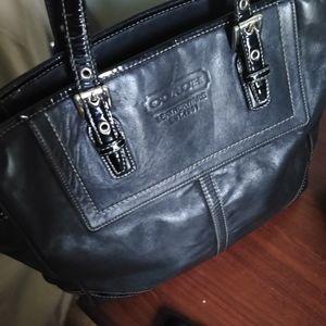 Coach Black Leather Handbag Tote